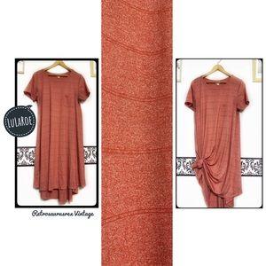 LuLaRoe Cotton Tangerine Orange Carly Dress Small